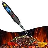 GEMITTO Grillthermometer Grillgabel Thermometer BBQ Gabel Bratenthermometer Funk Fleischthermometer Ofenthermometer für sicheres Essen zum Kochen LCD Hintergrundbeleuchtung für Grill, Raucher Schwarz