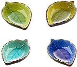 ProLeo 4 Stück Mini-Schälchen Keramik Blätter Form Hand gefertigt Saucen Schalen, aus Keramik, Set von 4 Farben
