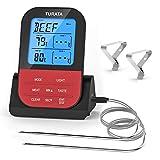 TURATA Bratenthermometer, Fleischthermometer Kabellos BBQ Bratenthermometer Digital Grillthermometer Doppelsonde Elektronische