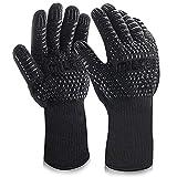 MILcea Grillhandschuhe BBQ Handschuhe Ofenhandschuhe Hitzebeständige Grill Lederhandschuhe Backhandschuhe Topfhandschuhe Kochhandschuhe für Küche Grill Kochen