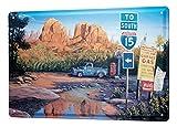 LEotiE SINCE 2004 Blechschild Georg Huber Retro US Nostalgie Deko Wildnis Route 15 Oldtimer Auto Vintage American Cars20x30 cm