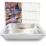 YUGN Bräter mit Grillrost - Ofenform Bratenform Edelstahl Bratpfanne mit Gitter für Ofengeschirr - Spülmaschinenfest 36x27x7CM - Kostenloses eBook