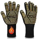 Kiaitre Grillhandschuhe 800℃ Extrem hitzebeständig - Flexible Ofenhandschuhe 12,5' rutschfeste Silikon-Kochhandschuhe zum Kochen, Grillen, Langarm für zusätzlichen Handgelenkschutz, 1 Paar