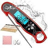 Biho Grillthermometer, Fleischthermometer 3s Sofortiges Auslesen, Küchenthermometer mit IP67 Wasserdicht, Digitales Thermometer, Faltbar Lange Sonde und LCD Bildschirm, für Küche, Grill, BBQ(Schwarz)
