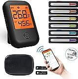 Grillthermometer, Bluetooth-Fleischthermometer mit 6 Sonden, Alarmmonitor Digitale Grillfleischthermometer für Grilltemperatur- und Raucher- und Ofensicherheit