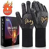 Grillhandschuhe Ofenhandschuhe Hitzebeständige bis zu 800 ° C, Grill Handschuhe Universalgröße Kochhandschuhe Backhandschuhe für BBQ Kochen Backen und Schweißen-Klassisch