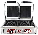 Beeketal 'BKG7' Gastro Doppelt Kontaktgrill mit Gusseisen Grillpatten (oben und unten gerillt) mit Fettauffangschale, Profi Edelstahl Elektrogrill ideal als Panini Grill Maker oder Sandwich Toaster