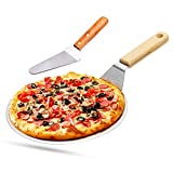 Pizzaschieber Pizzaschaufel Edelstahl + Pizzaheber mit Holzgriff zum Backen Hausgemachte Pizza und Brot Kuchen & Kekse