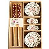Dongbin Japanisch Set Beinhaltet Teller Sauce Schälchen Paar Essstäbchen Ständer Rechteckig Mit Reisschalen,Rosa