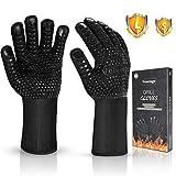 Vemingo Feuerfeste Handschuhe Grillhandschuhe Ofenhandschuhe | EN407 Hitzebeständige Bis zu 800 ° C | Kochhandschuhe Backhandschuhe für BBQ Kochen Backen | Schweißen-Klassisch Schwarz in Größe L