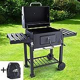 RAMROXX 38333 RAMROXX® BBQ XL Holzkohle Grillwagen Smoker Barbecue Grill RX850 mit Abdeckung